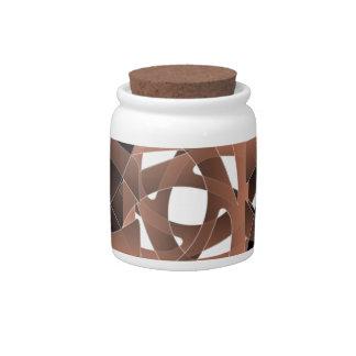 Brown White Candy Jar