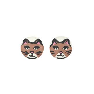 BROWN & WHITE CAT, Pink Ears & Black Whiskers Earrings