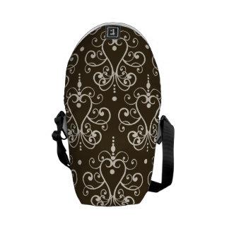 brown white chandelier damask messenger bag