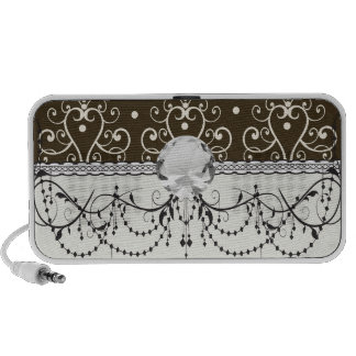 brown white chandelier damask travel speakers
