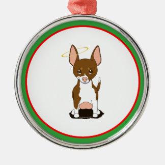 Brown White Chihuahua Angel Round Metal Christmas Ornament