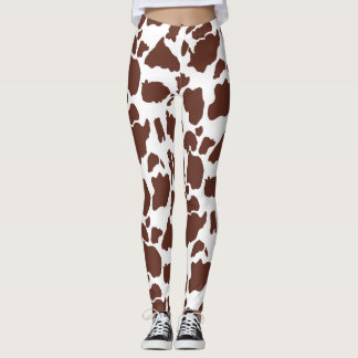Brown White Cow Print Pattern Leggings