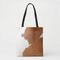 Brown & White Cow Print Tote Bag