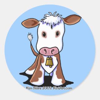 Brown & White Cow Round Stickers