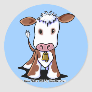 Brown White Cow Round Stickers