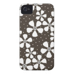 Brown White Floral Case-Mate iPhone 4 Case