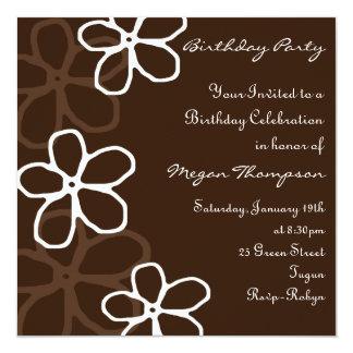 Brown & White Floral Design Birthday Invitation