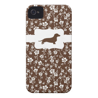 Brown&White Floral w/Dachshund Case-Mate iPhone 4 Case