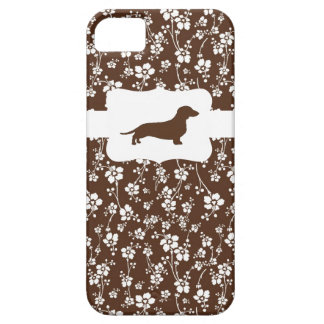 Brown&White Floral w/Dachshund iPhone 5 Case