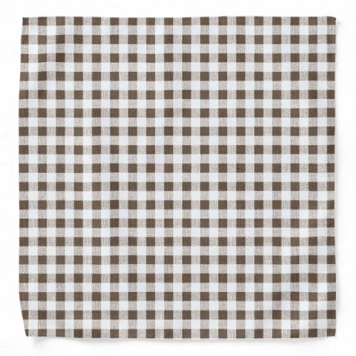 Brown White Gingham Pattern Bandana