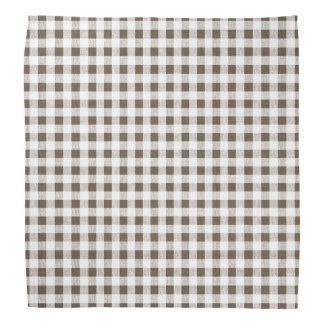 Brown White Gingham Pattern Bandana