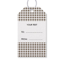 Brown White Gingham Pattern Gift Tags