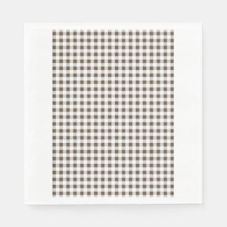 Brown White Gingham Pattern Napkin