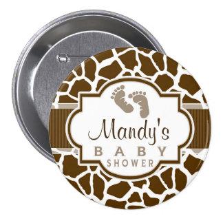 Brown, White Giraffe Animal Print Baby Shower 3 Inch Round Button