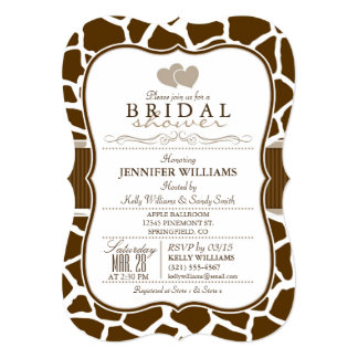 Brown, White Giraffe Animal Print Bridal Shower Card