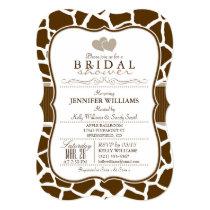 Brown, White Giraffe Animal Print Bridal Shower Invitation