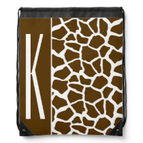 Brown & White Giraffe Animal Print Drawstring Bag