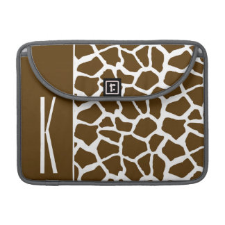 Brown & White Giraffe Animal Print MacBook Pro Sleeves