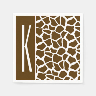 Brown & White Giraffe Animal Print Napkin