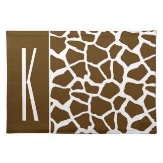 Brown & White Giraffe Animal Print Place Mat