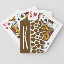 Brown & White Giraffe Animal Print Playing Cards