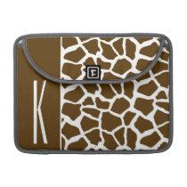 Brown & White Giraffe Animal Print Sleeve For MacBook Pro