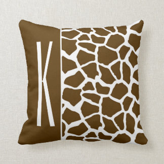 Brown & White Giraffe Animal Print Throw Pillow