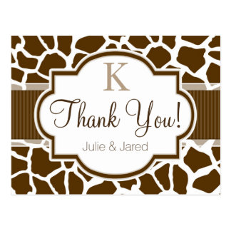 Brown, White Giraffe Animal Print Wedding Postcard