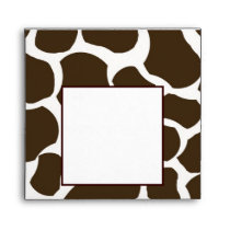 Brown White Giraffe Spots Print Envelope