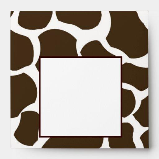 Brown White Giraffe Spots Print Envelope