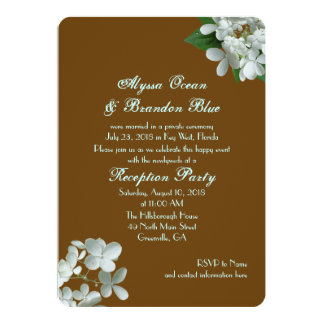 Brown White Hydrangea Reception Only Wedding Card