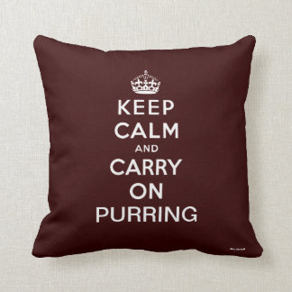 Brown White Keep Calm and Carry On Purring Throw Pillow