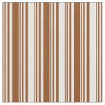 [ Thumbnail: Brown & White Lines/Stripes Pattern Fabric ]