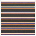 [ Thumbnail: Brown, White, Midnight Blue, Chocolate, and Black Fabric ]