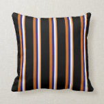 [ Thumbnail: Brown, White, Midnight Blue, Chocolate, and Black Throw Pillow ]