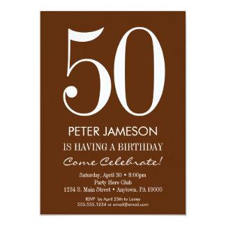 Brown & White Modern Adult Birthday Invitations