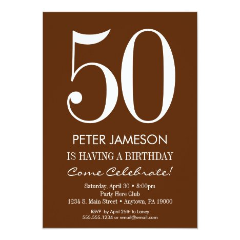 Brown & White Modern Adult Birthday Invitations