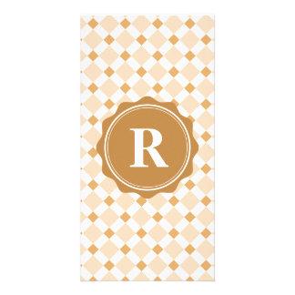 Brown White Monogram Check Pattern Card