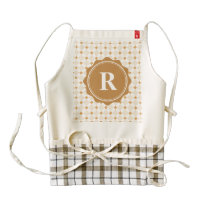 Brown White Monogram Check Pattern Zazzle HEART Apron
