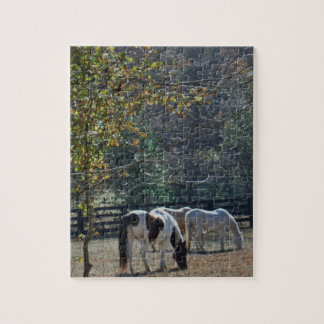Brown White Painted Horse and Cream Horse Jigsaw Puzzles