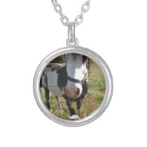 Brown &White, Painted Horse, Queen Ann Lace flower Silver Plated Necklace