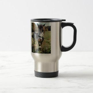 Brown &White, Painted Horse, Queen Ann Lace flower Travel Mug
