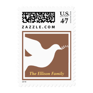 Brown white peace dove bird christmas holiday postage stamp
