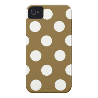 Brown & White Polka Dots iPhone 4 Case-Mate Case