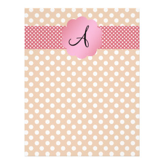 Brown white polka dots monogram personalized flyer