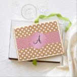 Brown white polka dots monogram jumbo cookie