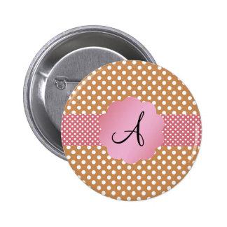 Brown white polka dots monogram pinback button