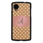 Brown white polka dots monogram carved® maple nexus 5 slim case