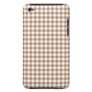 Brown, White, Small Gingham, Checkered iPod Case-Mate Cases