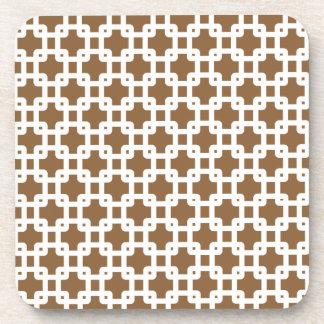Brown & White Square Pattern Coaster
